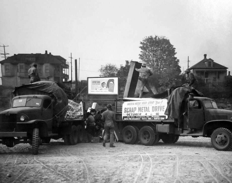 This 1944 scrap metal drive lasted from Oct. 4 to 18 and was sponsored by the Post-Intelligencer, which is a reason why so many photos were taken during it. This image is from Oct. 9. Photo: Copyright MOHAI, Seattle Post-Intelligencer Collection, PI28159