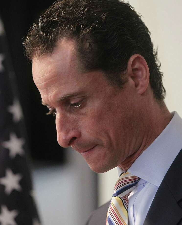 Rep. Anthony Weiner, D-N.Y., is thinking again about running for Mayor of New York.  In 2011, he had to resign from Congress. Weiner had found an unusual way of exposing himself to the voters.  He sent lewd photos of himself sent to women on Twitter, lied about it, and left Congress. Photo: Mario Tama, Getty Images / 2011 Getty Images