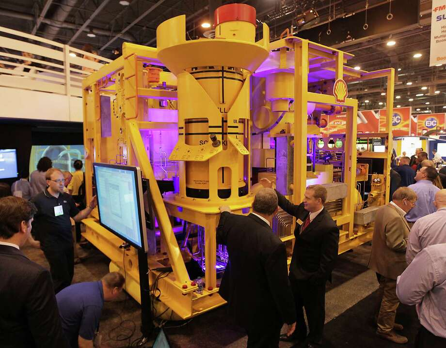 A 15K Enhanced Vertical Deepwater Tree (EVDT) is on display at the FMC Technologies booth at the Offshore Technology Conference in Reliant Center. Photo: James Nielsen, Staff / © 2013  Houston Chronicle