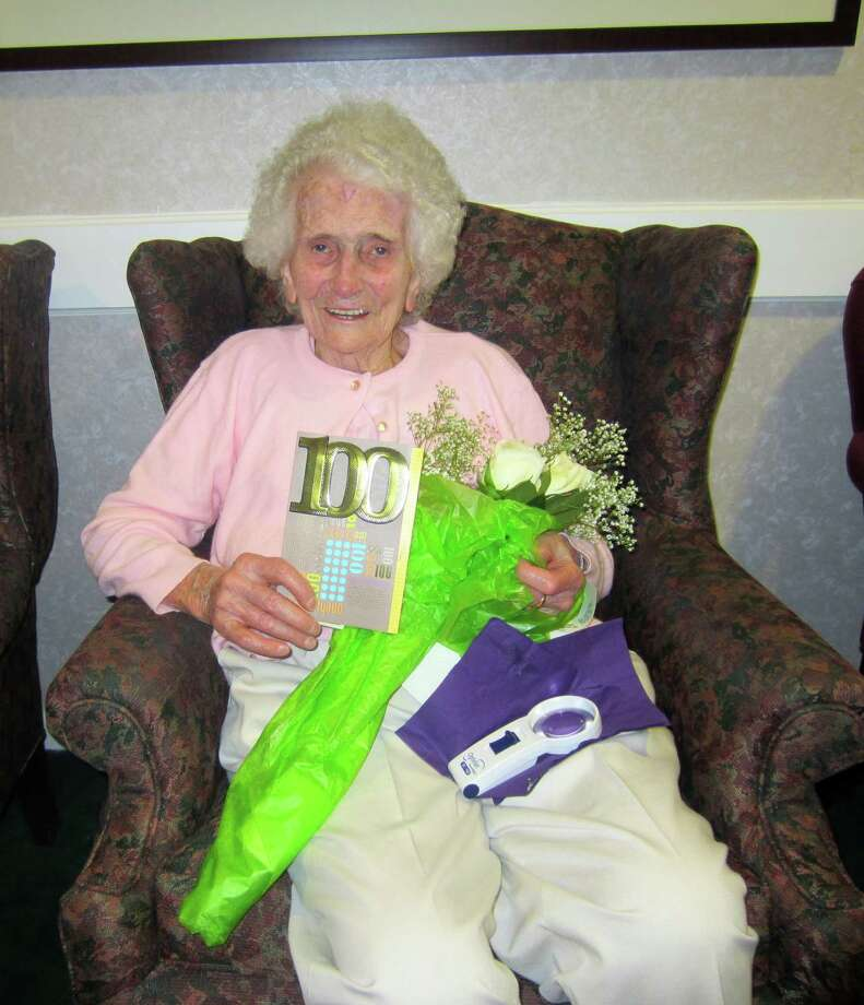 """Erika Jerabek of Glenmont celebrated her 100th birthday at the Van Allen Senior Apartments on April 26. Longevity runs in her family.  Her brother Otto lived to the age of 95 and her sister Else died at 101.  Jerabek and her mother immigrated to the U.S. in 1929 from Germany when she was 16. Jerabek has lived a long life because, she says, she """"lives simply and has never gone to any extreme."""" (Karen Harmon)"""