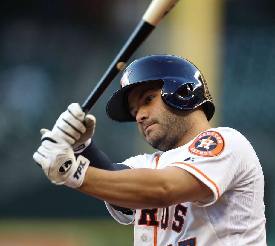 Jose Altuve of the Astros goes to bat against the Angels during the first inning.