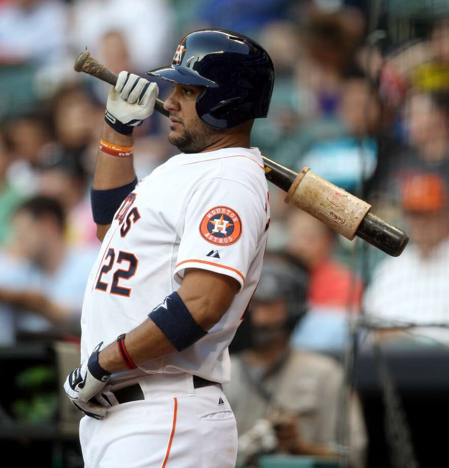 Astros catcher Carlos Corporan prepares for an at-bat during the first inning.