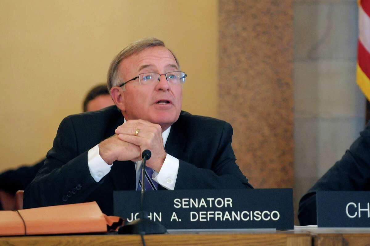 Senator John DeFrancisco takes part in a legislative hearing on public financing in New York City elections at the Capitol on Tuesday, May 7, 2013 in Albany, NY. (Paul Buckowski / Times Union)