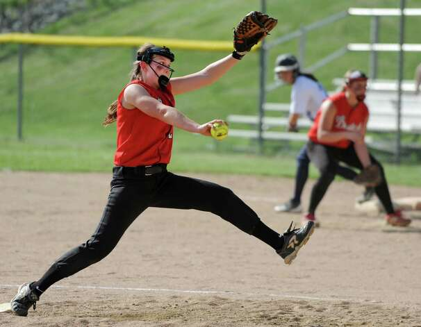 Guilderland pitcher Taylor Tewksbury throws the ball during a softball game against Columbia on Tuesday, May 7, 2013 in East Greenbush, N.Y. (Lori Van Buren / Times Union) Photo: Lori Van Buren / 00022316A