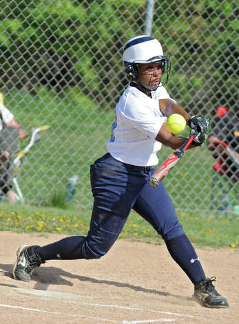 Columbia's Samara Perry gets to third base on this hit to right field with an error during a softball game against Guilderland on Tuesday, May 7, 2013 in East Greenbush, N.Y. (Lori Van Buren / Times Union) Photo: Lori Van Buren / 00022316A