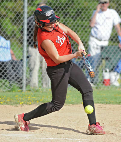Guilderland's Torie Rathwell hits the ball to third base during a softball game against Columbia on Tuesday, May 7, 2013 in East Greenbush, N.Y. (Lori Van Buren / Times Union) Photo: Lori Van Buren / 00022316A