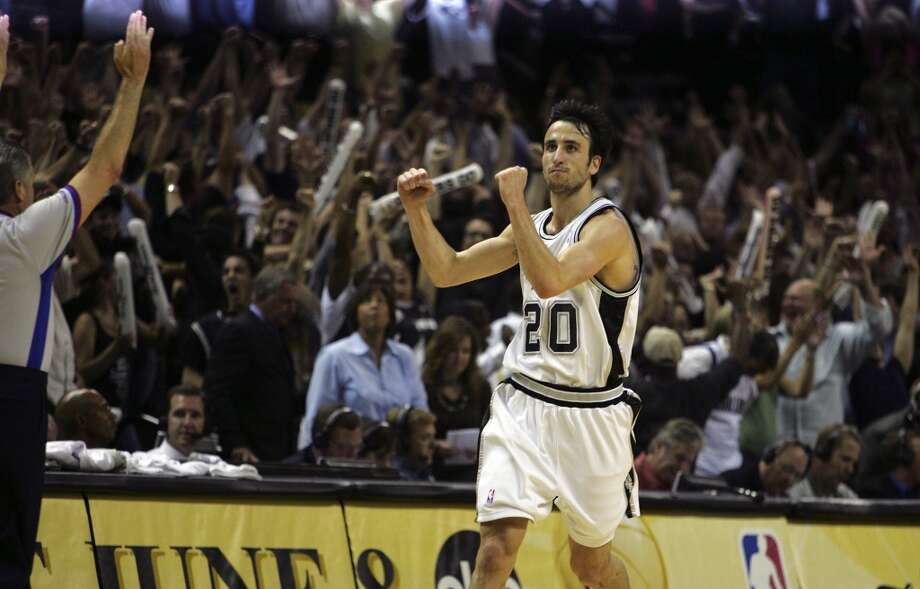 BEST — 2006 WEST SEMIFINALS  Moment: Game 7  Victim: Dallas  Note: Made a cold-blooded 3 that put the Spurs up by three with 32.9 seconds left. The elation, however, wouldn't last.   PHOTO: Ginobili celebrates after hitting a 3-pointer with less then 35 seconds left in the game to put the Spurs ahead of the Mavericks for the first time in Game 7 of the Western Conference semifinals at the AT&T Center on May 22, 2006.