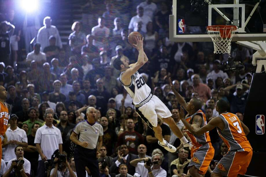 BEST — 2008 WEST SEMIFINALS  Moment: Game 1  Victim: Phoenix  Note: Capped a double-overtime thriller by sinking a driving, off-balance leaner with 1.8 seconds remaining.     PHOTO: Ginobili shoots the game-winning shot with 1.8 seconds left in double overtime in Game 1 of the Western Conference first round against the Suns on April 19, 2008 at the AT&T Center.