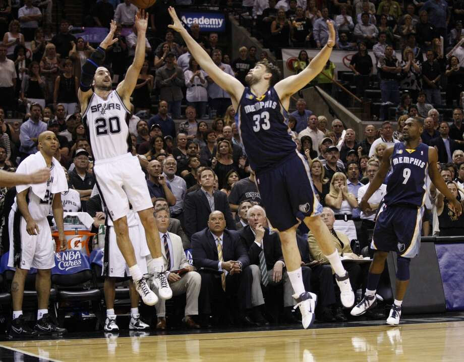 BEST — 2011 FIRST ROUND  Moment: Game 5  Victim: Memphis  Note: Hit a wild corner jumper to precede Gary Neal's game-tying 3 at the buzzer, setting the stage for an overtime victory.   PHOTO: Ginobili hits a 2-point basket, which was reviewed, against Grizzlies center Marc Gasol (33) during the second half of Game 5 of the Western Conference first round at the AT&T Center on April 27, 2011.