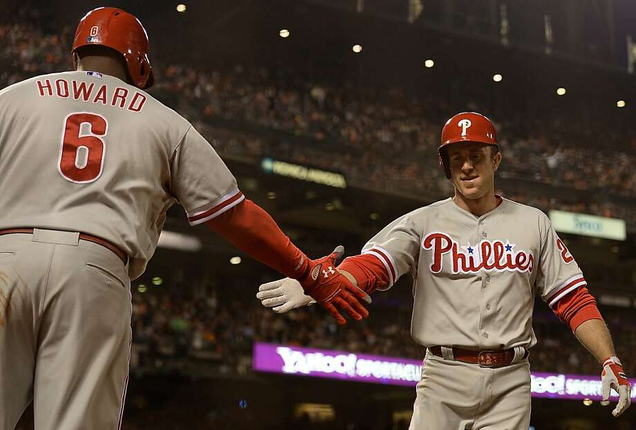 SAN FRANCISCO, CA - MAY 07:  Chase Utley #26 of the Philadelphia Phillies is congratulated by Ryan Howard #6 after Utley hit a solo home run against the San Francisco Giants in the fifth inning at AT&T Park on May 7, 2013 in San Francisco, California.  (Photo by Thearon W. Henderson/Getty Images) Photo: Thearon W. Henderson, Getty Images