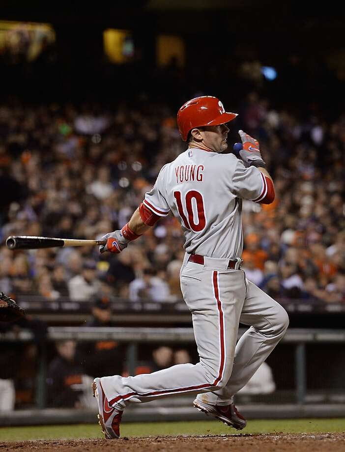 SAN FRANCISCO, CA - MAY 07:  Michael Young #10 of the Philadelphia Phillies hits an RBI double scoring Jimmy Rollins #11 against the San Francisco Giants in the seventh inning at AT&T Park on May 7, 2013 in San Francisco, California.  (Photo by Thearon W. Henderson/Getty Images) Photo: Thearon W. Henderson, Getty Images