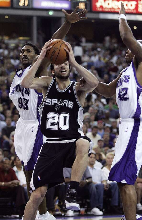 WORST — 2006 FIRST ROUND  Moment: Game 3  Beneficiary: Sacramento  Note: His seventh turnover ended up with Kevin Martin, whose winning layup rattled home at the buzzer.   PHOTO: Ginobili drives to the basket against the Kings' Ron Artest (93) and Bonzi Wells (42) in the first half of Game 3 of the  Western Conference first round in Sacramento on April 28, 2006.