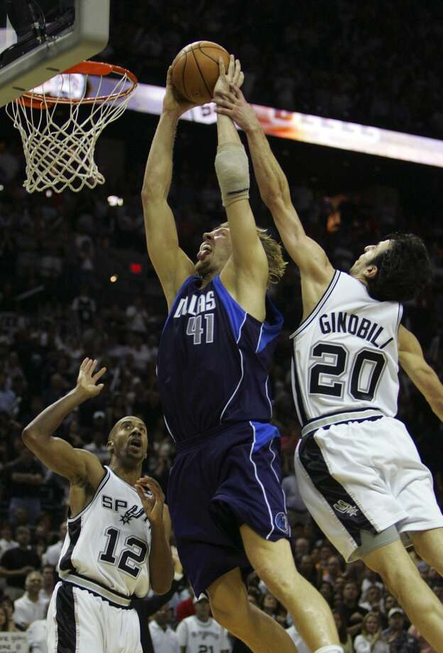 WORST — 2006 WEST SEMIFINALS  Moment: Game 7  Beneficiary: Dallas  Note: The granddaddy of them all. His foolish foul on Dirk Nowitzki gave the German a tying three-point play, and the Spurs lost in OT.   PHOTO: Ginobili fouls Nowitzki with less than 35 seconds left in Game 7 of the Western Conference semifinals, sending Nowitzki to the line where he tied the game at the AT&T Center on May 22, 2006.
