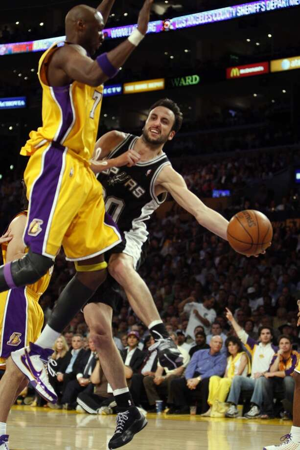 WORST — 2008 WEST FINALS  Moment: Game 1  Beneficiary: Los Angeles Lakers  Note: Had one of his worst all-around games, committing four turnovers while missing 10 of 13 shots, including a critical late 3.   PHOTO: Ginobili passes around the Lakers' Lamar Odom during the Game 1 of the Western Conference finals on May 21, 2008, in Los Angeles.