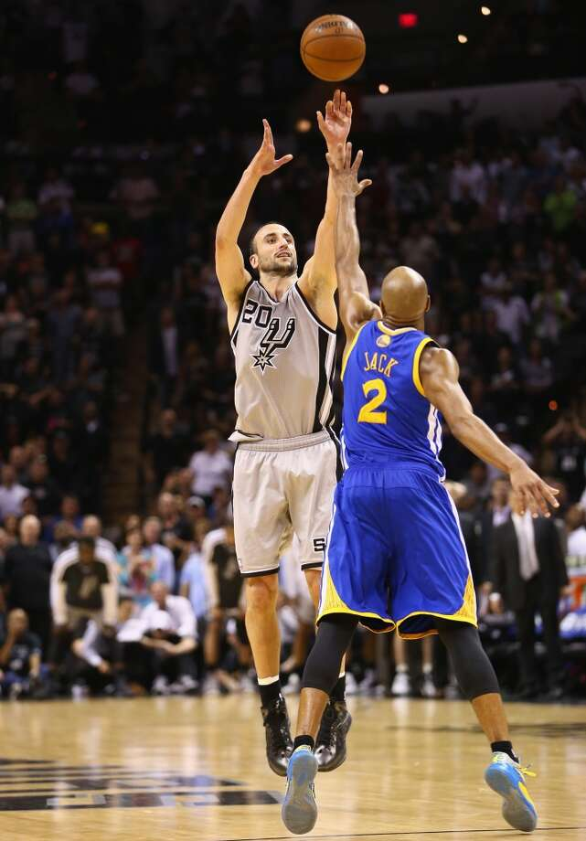 WORST — 2013 WEST SEMIFINALS  Moment: Game 1  Beneficiary: Golden State  Note: An ill-advised 3 early in the shot clock opened the door for the Warriors to reclaim the lead with less than four seconds left.   PHOTO: Ginobili takes a shot against the Warriors' Jarrett Jack during Game 1 of the Western Conference semifinals at AT&T Center on May 6, 2013.