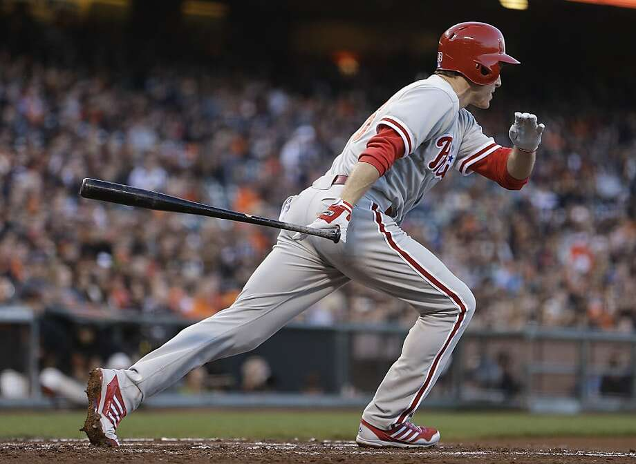 Philadelphia Phillies' Chase Utley heads to first on an RBI single off San Francisco Giants' Tim Lincecum in the second inning of a baseball game Tuesday, May 7, 2013, in San Francisco. (AP Photo/Ben Margot) Photo: Ben Margot, Associated Press
