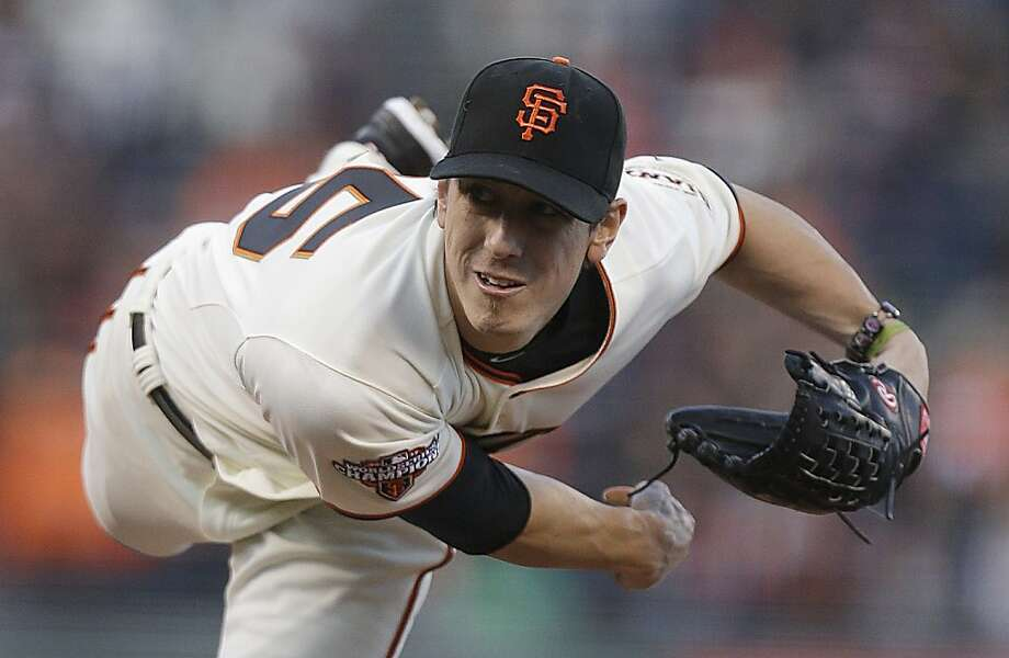 San Francisco Giants' Tim Lincecum follows through as he pitches to the Philadelphia Phillies in the first inning of a baseball game Tuesday, May 7, 2013, in San Francisco. (AP Photo/Ben Margot) Photo: Ben Margot, Associated Press