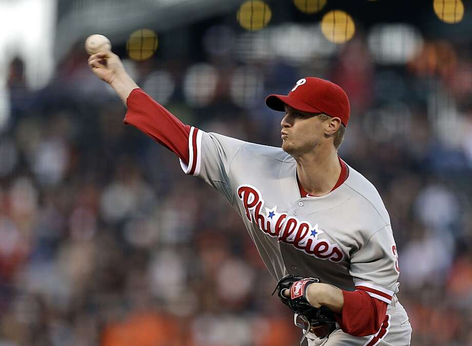 Philadelphia Phillies' Kyle Kendrick pitches to the San Francisco Giants in the first inning of a baseball game Tuesday, May 7, 2013, in San Francisco. (AP Photo/Ben Margot) Photo: Ben Margot, Associated Press