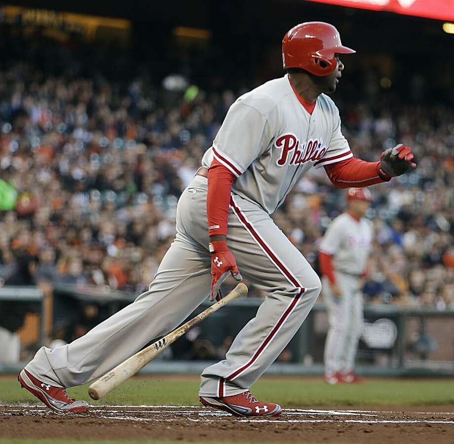Philadelphia Phillies' Ryan Howard drops his bat after hitting an RBI single off San Francisco Giants' Tim Lincecum in the first inning of a baseball game Tuesday, May 7, 2013, in San Francisco. (AP Photo/Ben Margot) Photo: Ben Margot, Associated Press