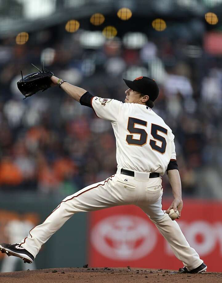 San Francisco Giants' Tim Lincecum works against the Philadelphia Phillies in the first inning of a baseball game Tuesday, May 7, 2013, in San Francisco. (AP Photo/Ben Margot) Photo: Ben Margot, Associated Press