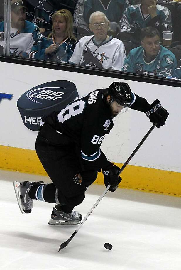 Brent Burns (88) of the San Jose Sharks drives the puck down ice in the second period during their NHL play-off game with the Vancouver Canucks at HP Pavilion on Tuesday, May 7, 2013 in San Jose, California. Photo: Lance Iversen, The Chronicle