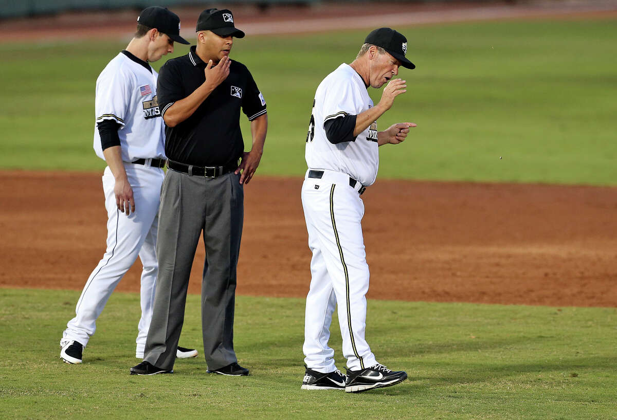 Missions manager Rich Dauer walks away making his case after his second baseman challenged a call at second as the Missions host the Hooks on May 7, 2013.