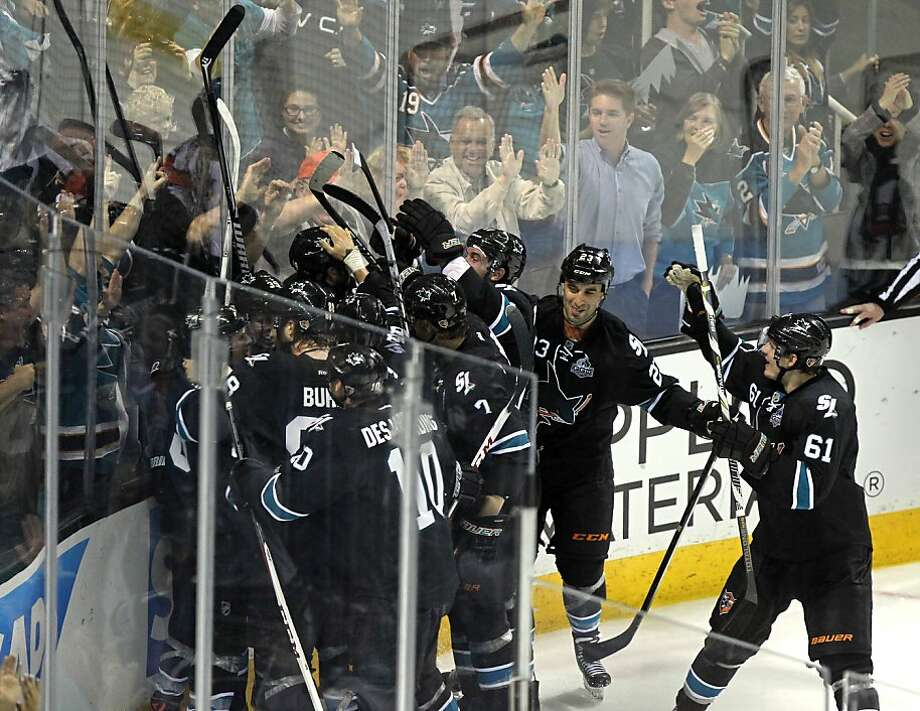 The San Jose Sharks celebrates their fourth period victory during their NHL play-off game with the Vancouver Canucks at HP Pavilion on Tuesday, May 7, 2013 in San Jose, California. Sharks win 4-3 Photo: Lance Iversen, The Chronicle