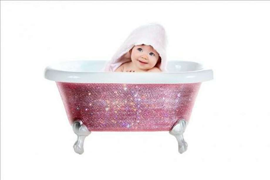 Swarovski diamond baby bathtub, $3,800. Pamper your precious bundle of joy in a bathtub fit for royalty. Each bathtub is a work of art and each crystal is applied by hand. thediamondbathtub.com