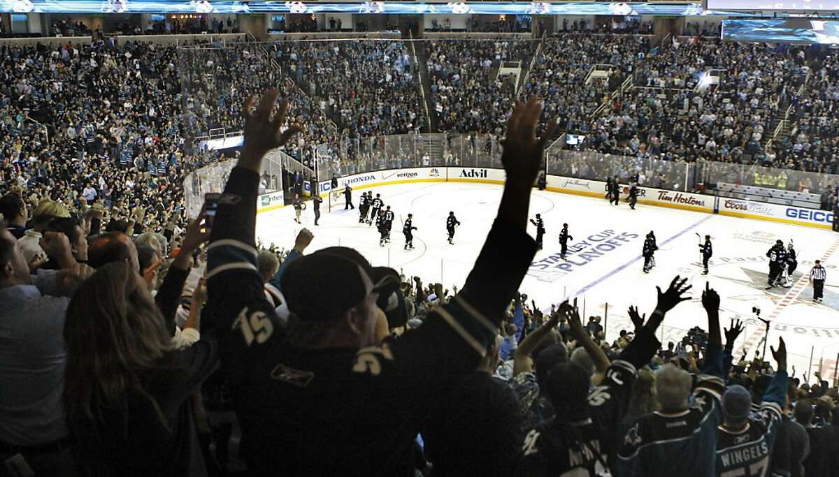 The San Jose Sharks celebrate an overtime win during their NHL play-off game with the Vancouver Canucks at HP Pavilion on Tuesday, May 7, 2013 in San Jose, California. Sharks won 4-3.