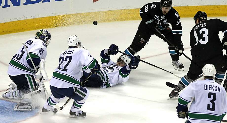 The San Jose Sharks battle the Vancouver Canucks in over-time during their NHL play-off game at HP Pavilion on Tuesday, May 7, 2013 in San Jose, California. Sharks won 4-3 Photo: Lance Iversen, The Chronicle