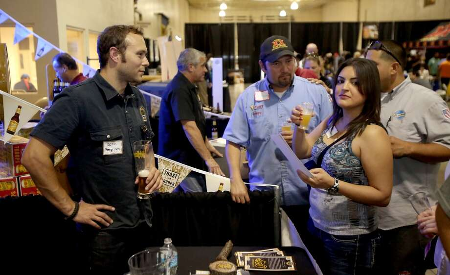 Customers try a variety of Live Oak beers.