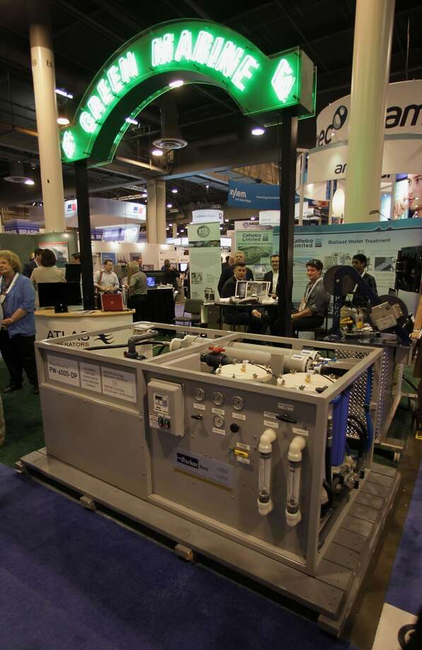 A Village Marine Tec. model DW-6000-DP water maker at the Green Marine booth during OTC 2013 at Reliant Park Tuesday, May 7, 2013, in Houston. ( James Nielsen / Houston Chronicle ) Photo: James Nielsen, Houston Chronicle