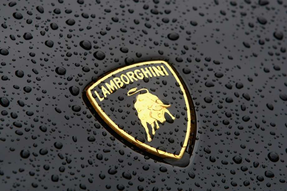The Lamborghini sign is seen on a car, presented in front of the headquarters during the Audi annual news conference in 2009 in Ingolstadt, Germany.