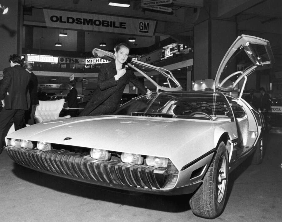 The Lamborghini Marzal, a one-off prototype concept car, designed by by Marcello Gandini of the Bertone design studio, at a preview of the London Motor Show at Earl's Court, October 1967.