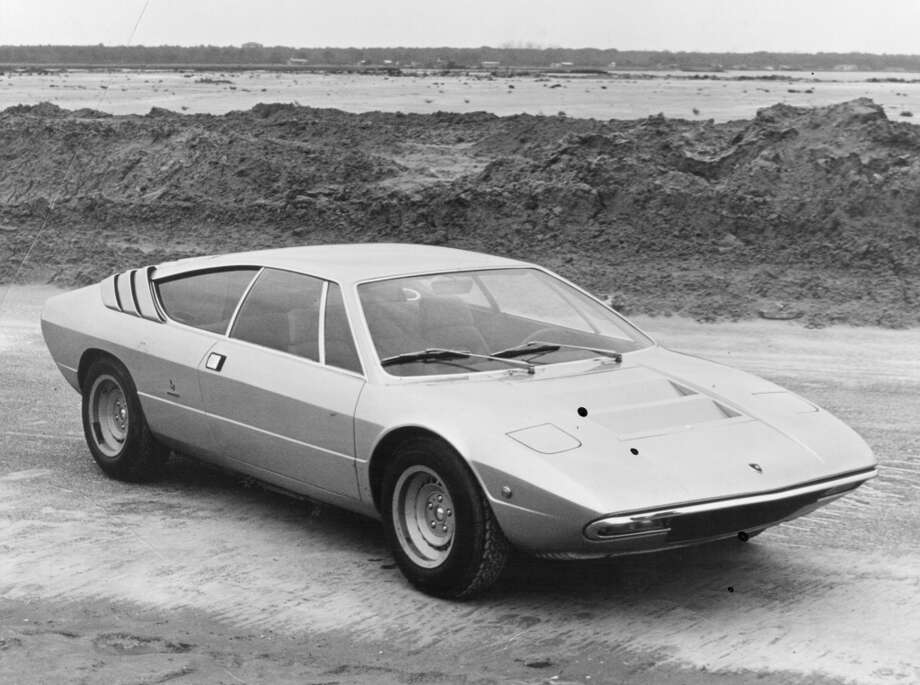 A publicity photo of a Lamborghini P250 Urraco 2+2 V8 sports car styled by Bertone and priced at $5500 in 1972.