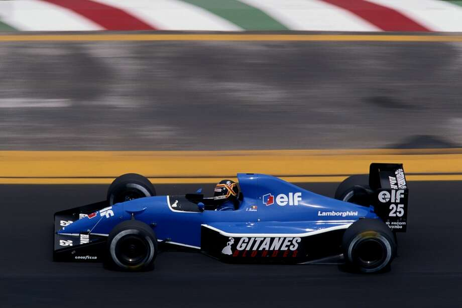 Thierry Boutsen of Belgium drives the #25 Ligier Gitanes Ligier JS35 Lamborghini 3.5 V12 during the Mexican Grand Prix on 16th  June 1991 at the Autodromo Hermanos Rodríguez in Mexico City.
