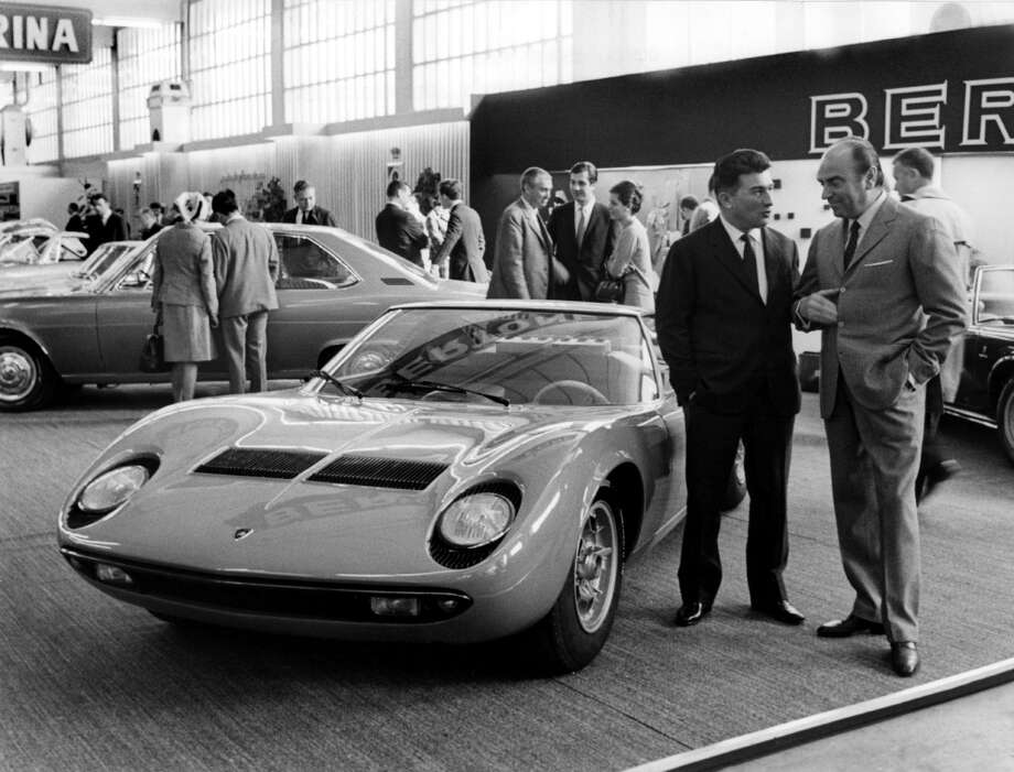Presentation Of A New Model Of Lamborghini, Coupe Sport P400 Miura At The International Automobile Show In Geneva.