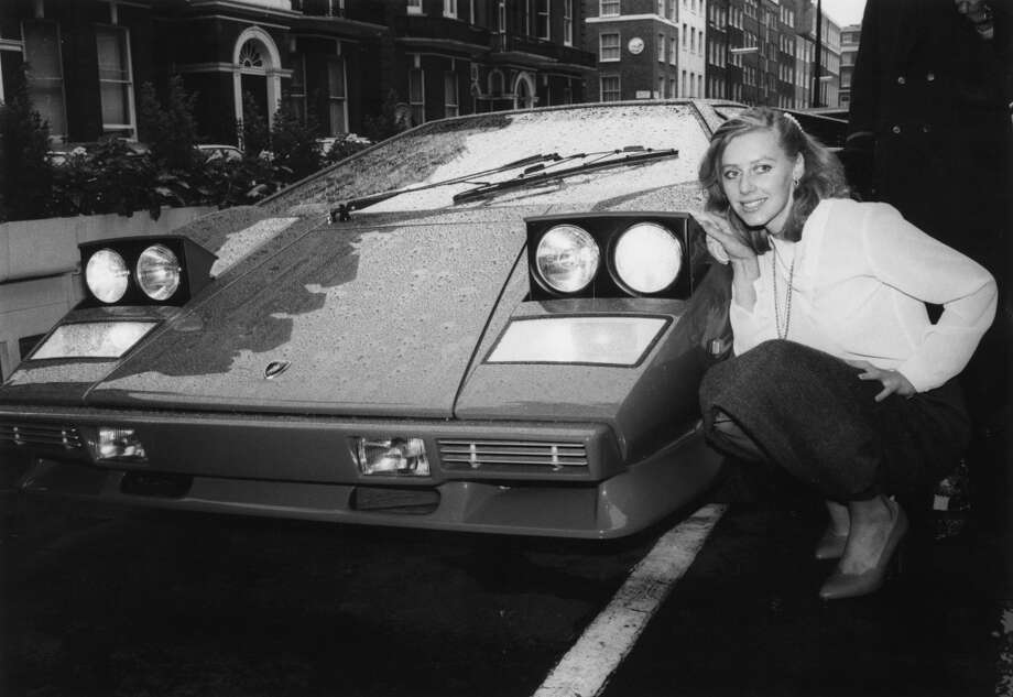 Erica Sandon-Humphries with the Lamborghini Jalpa which has a top speed of 160 mph and costs $28, 000.