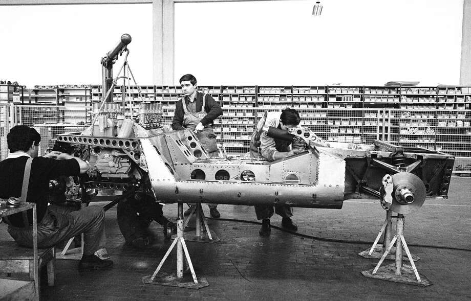 Mechanics building up the prototype P400 Miura at the Lamborghini Factory in Sant'Agata, October 1965.
