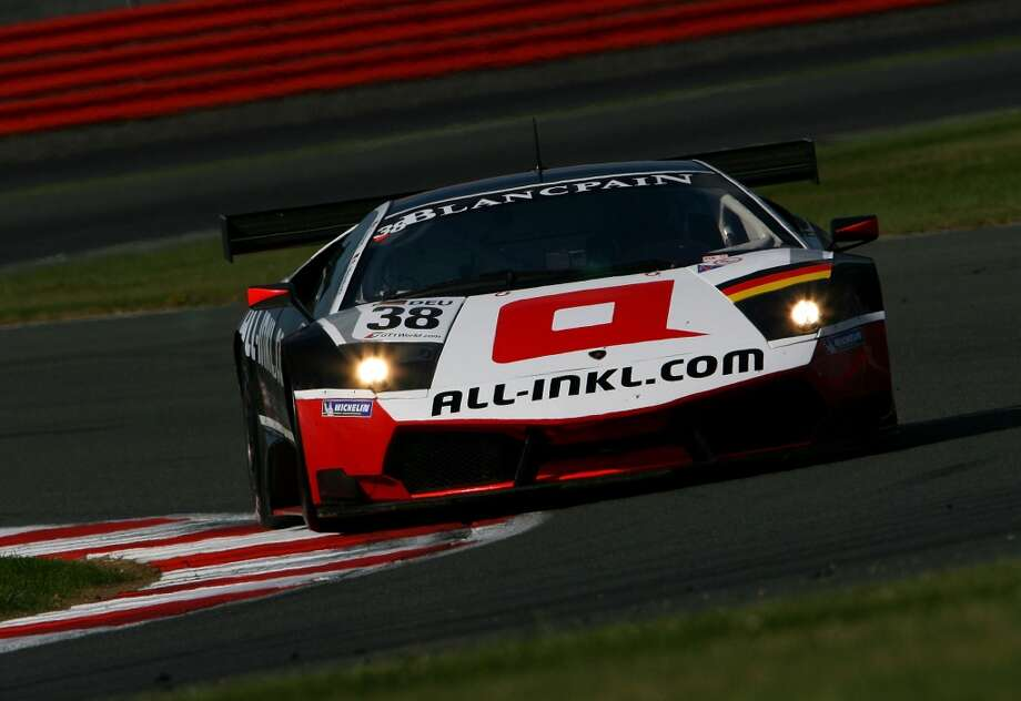 Markus Winklehock drives the #38 Munnich Motorsport Lamborghini Murclago 670 R-SV during practice for the F.I.A. GT1 World Championship race at the Silverstone Circuit on June 3, 2011 in Towcester, United Kingdom.