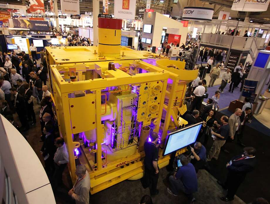 A 15K Enhanced Vertical Deepwater Tree also EVDT at the FMC Technologies booth at OTC 2013 at Reliant Park Tuesday, May 7, 2013, in Houston. ( James Nielsen / Houston Chronicle ) Photo: James Nielsen, Houston Chronicle