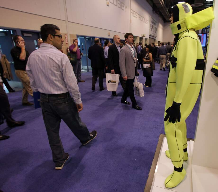 An neoprene immersion suit on display the the Viking Life-Saving Equipment booth during OTC 2013 at Reliant Park Tuesday, May 7, 2013, in Houston. ( James Nielsen / Houston Chronicle ) Photo: Houston Chronicle