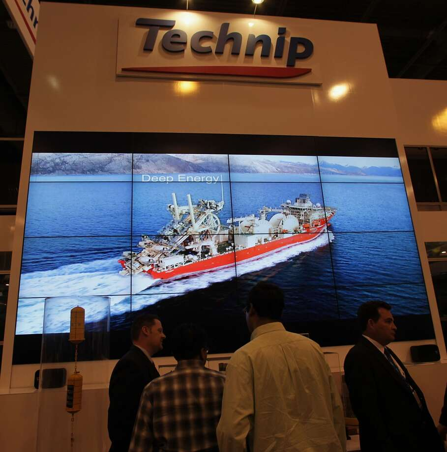 A video monitor wall with the Technip Deep Energy ship at the companies booth during OTC 2013 at Reliant Park Tuesday, May 7, 2013, in Houston. ( James Nielsen / Houston Chronicle ) Photo: Houston Chronicle