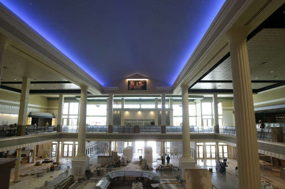A view of the grand lobby and the mezzanine level.