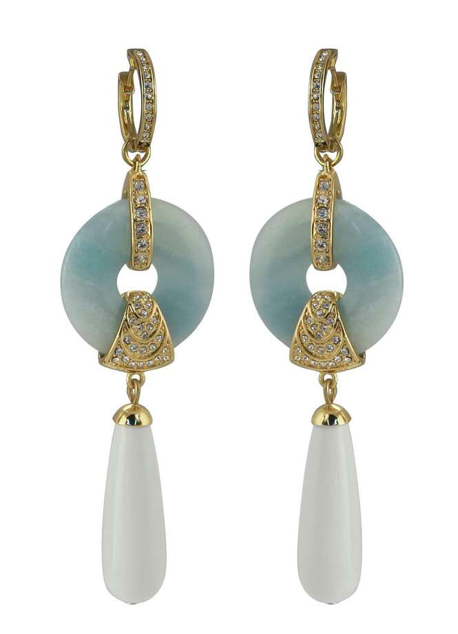 Deco delight: Deco details such as the arched rows of Swarovski crystals inlaid in 14-karat gold plate add some gilded glam to Rachel Zoe's amazonite drop earrings; $250 at neimanmarcus.com.