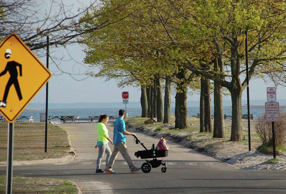 Traffic and pedestrian issues at Compo Beach are among the concerns expected to be addressed in a master plan in the works for the town's shorefront park. Photo: Jarret Liotta / Westport News contributed