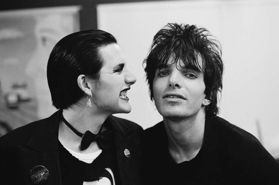 Singer Dave Vanian (left) and guitarist Brian James, of English punk group The Damned, Finchley, London, 1976. (Photo by Denis O'Regan/Getty Images)