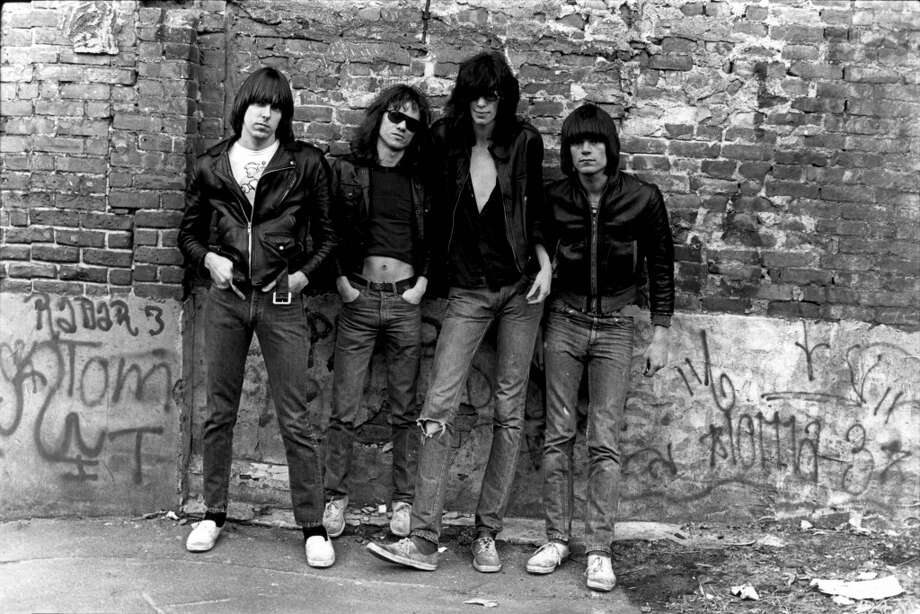 The Ramones are pictured for their first album cover  (Photo by Roberta Bayley/Redferns)