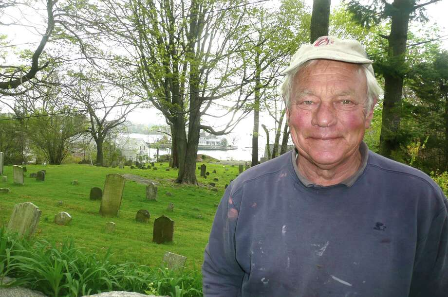 """Byram resident Chris Antonik is the volunteer caretaker of one of the oldest cemeteries in Greenwich,which sits right next to his home on Bryram Shore Road. Antonik calls it the  """"The Lyon Cemetery"""" because it is the final resting place for members of the Lyon, which traces its Greenwich roots back to 1676. Photo: Anne W. Semmes"""