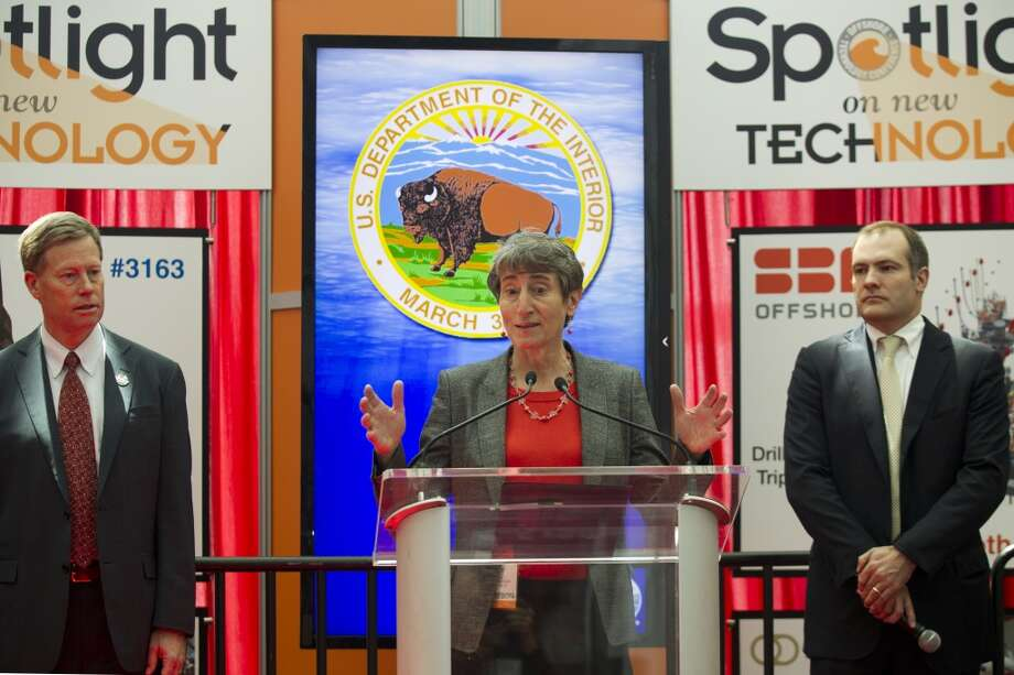 Secretary of the Interior Sally Jewell, center, speaks during a news conference with James Watson, Bureau of Safety and Environmental Enforcement Director, left, and Tommy Beaudreau, Bureau of Ocean Energy Mangement, during OTC2013 at Reliant Park Wednesday, May 8, 2013, in Houston. ( Brett Coomer / Houston Chronicle ) Photo: Brett Coomer, Houston Chronicle